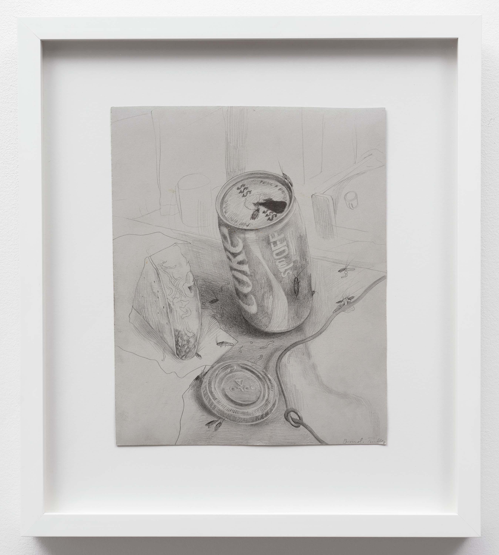 Brandi Twilley<br>Coke and Taco<br>2014<br>Graphite on gray paper<br>9 x 11 (23 x 28 cm)