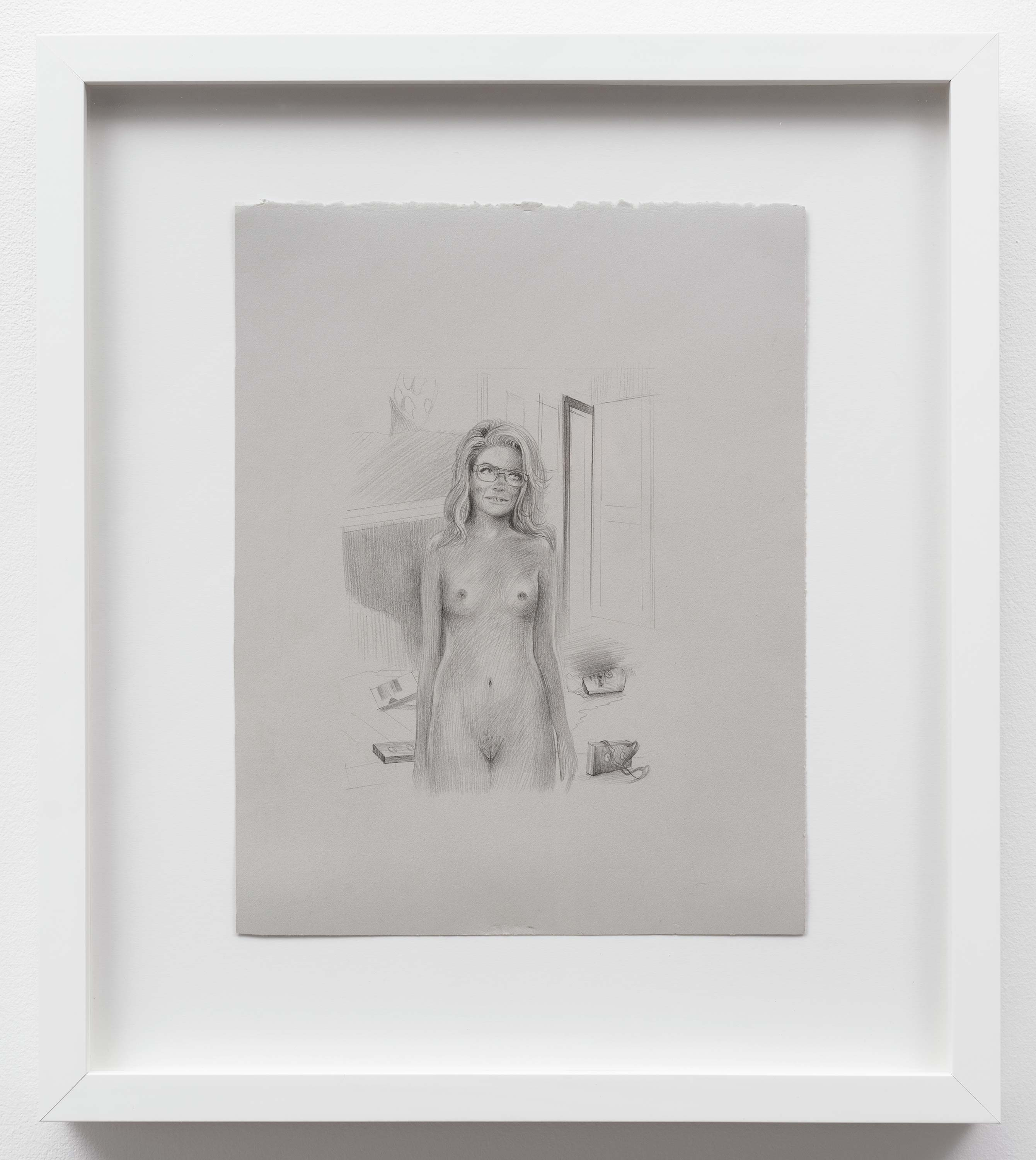 Brandi Twilley<br>Naked in the Living Room with Glasses<br>2014<br>Graphite on gray paper<br>9 x 11.5 (23 x 29 cm)