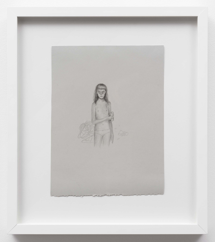 Brandi Twilley<br>Self-Portrait<br>2014<br>Graphite on gray paper<br>9 x 11.5 (23 x 29 cm)