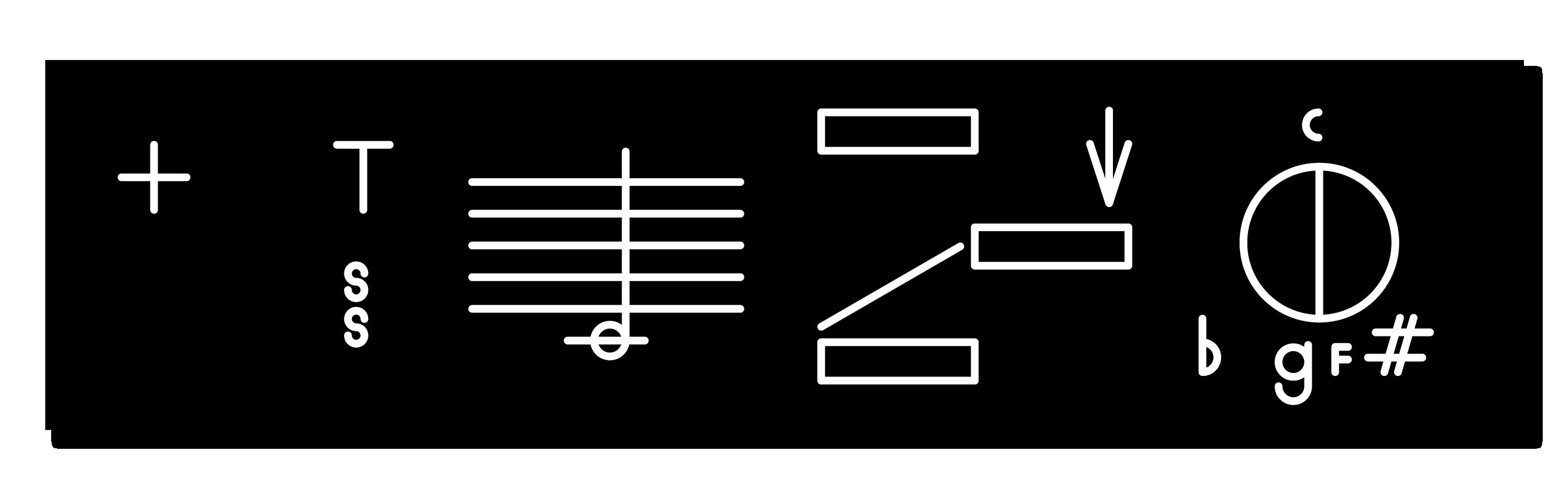 Dante Carlos, *Satanic Harmony (C♮ +  F♯ / G♭)*, 2015. Engraved plastic, 2 x 8 inches (5 x 20.32 cm)