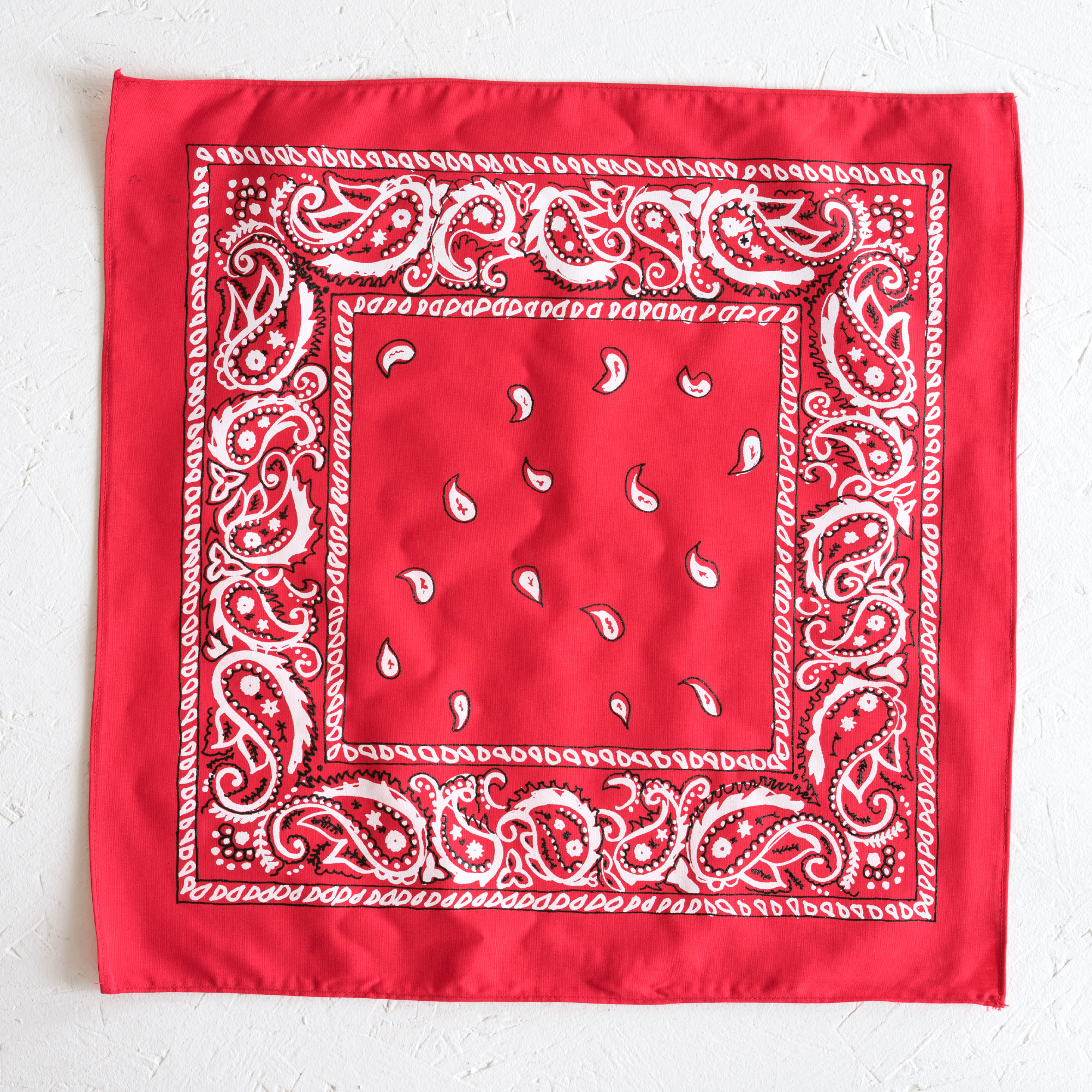 Nancy Davidson, *Hanky Code* (Red), 2016, Two color silkscreen on hand cut & sewn cotton, 17 x 17 inches (43.18 x 43.18 cm)
