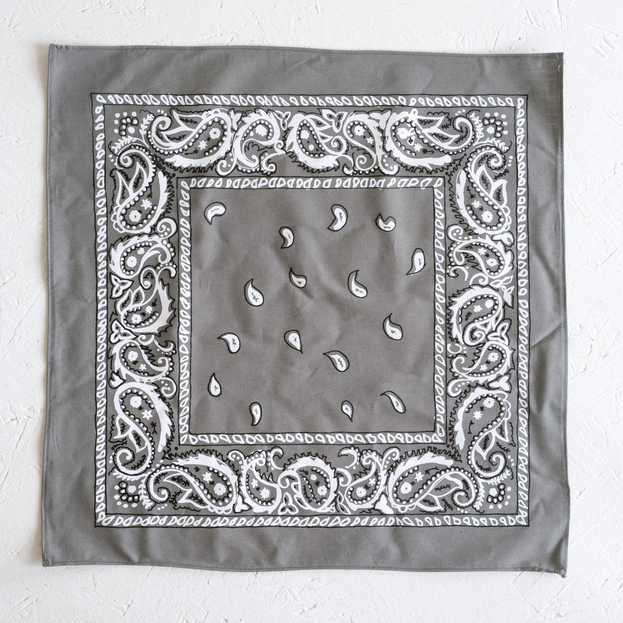 Nancy Davidson, *Hanky Code* (Grey), 2016, Two color silkscreen on hand cut & sewn cotton, 17 x 17 inches (43.18 x 43.18 cm)