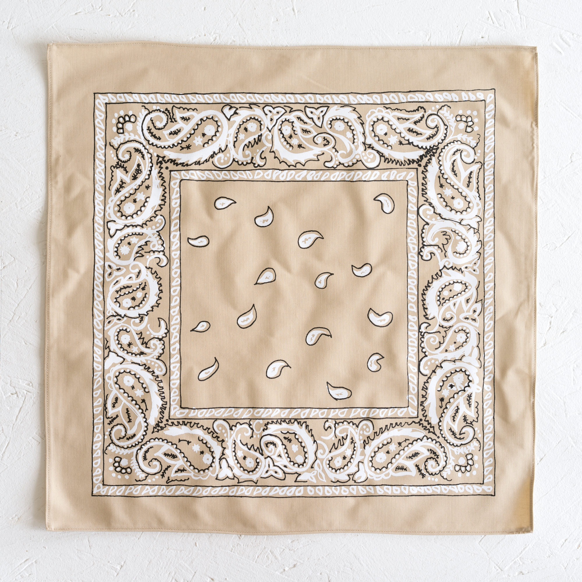 Nancy Davidson, *Hanky Code* (Beige), 2016, Two color silkscreen on hand cut & sewn cotton, 17 x 17 inches (43.18 x 43.18 cm)