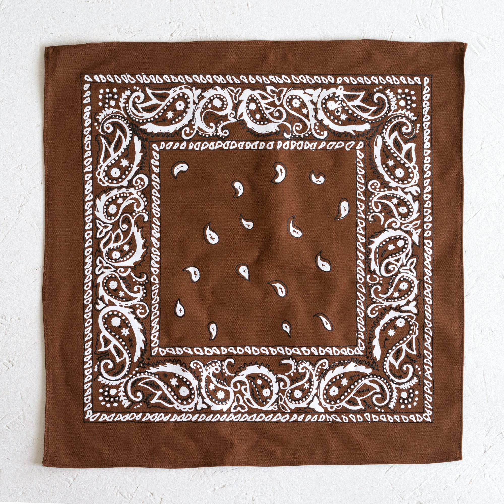 Nancy Davidson, *Hanky Code* (Brown), 2016, Two color silkscreen on hand cut & sewn cotton, 17 x 17 inches (43.18 x 43.18 cm)