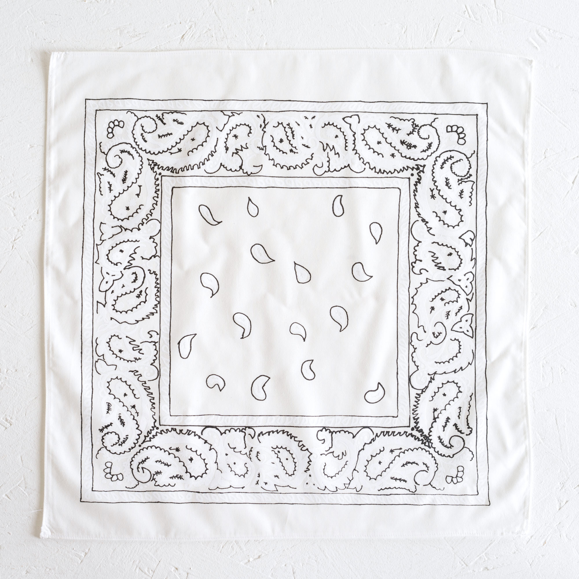 Nancy Davidson, *Hanky Code* (White), 2016, Two color silkscreen on hand cut & sewn cotton, 17 x 17 inches (43.18 x 43.18 cm)