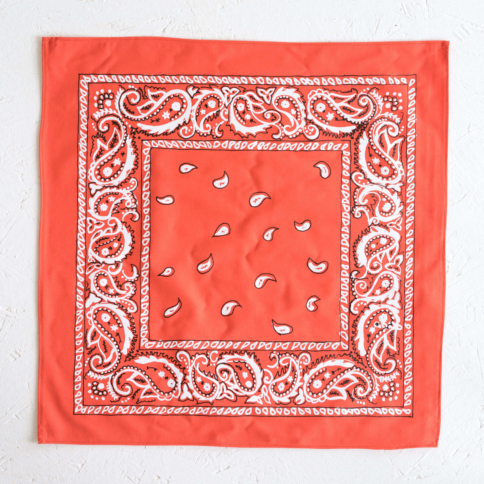 Nancy Davidson, *Hanky Code* (Orange), 2016, Two color silkscreen on hand cut & sewn cotton, 17 x 17 inches (43.18 x 43.18 cm)