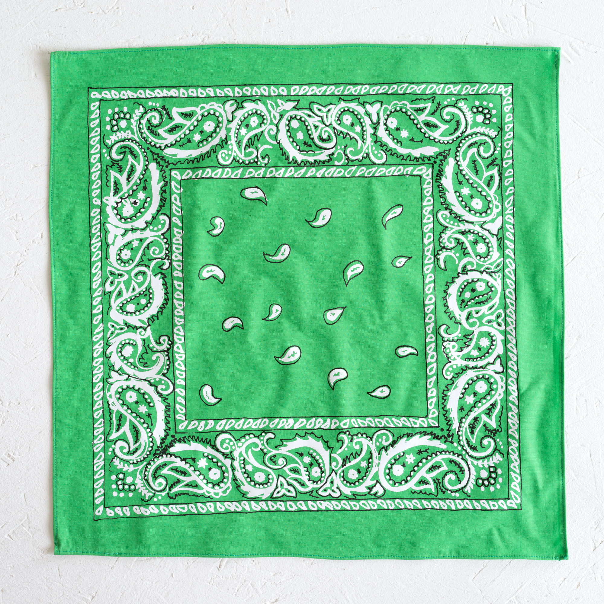 Nancy Davidson, *Hanky Code* (Kelly Green), 2016, Two color silkscreen on hand cut & sewn cotton, 17 x 17 inches (43.18 x 43.18 cm)