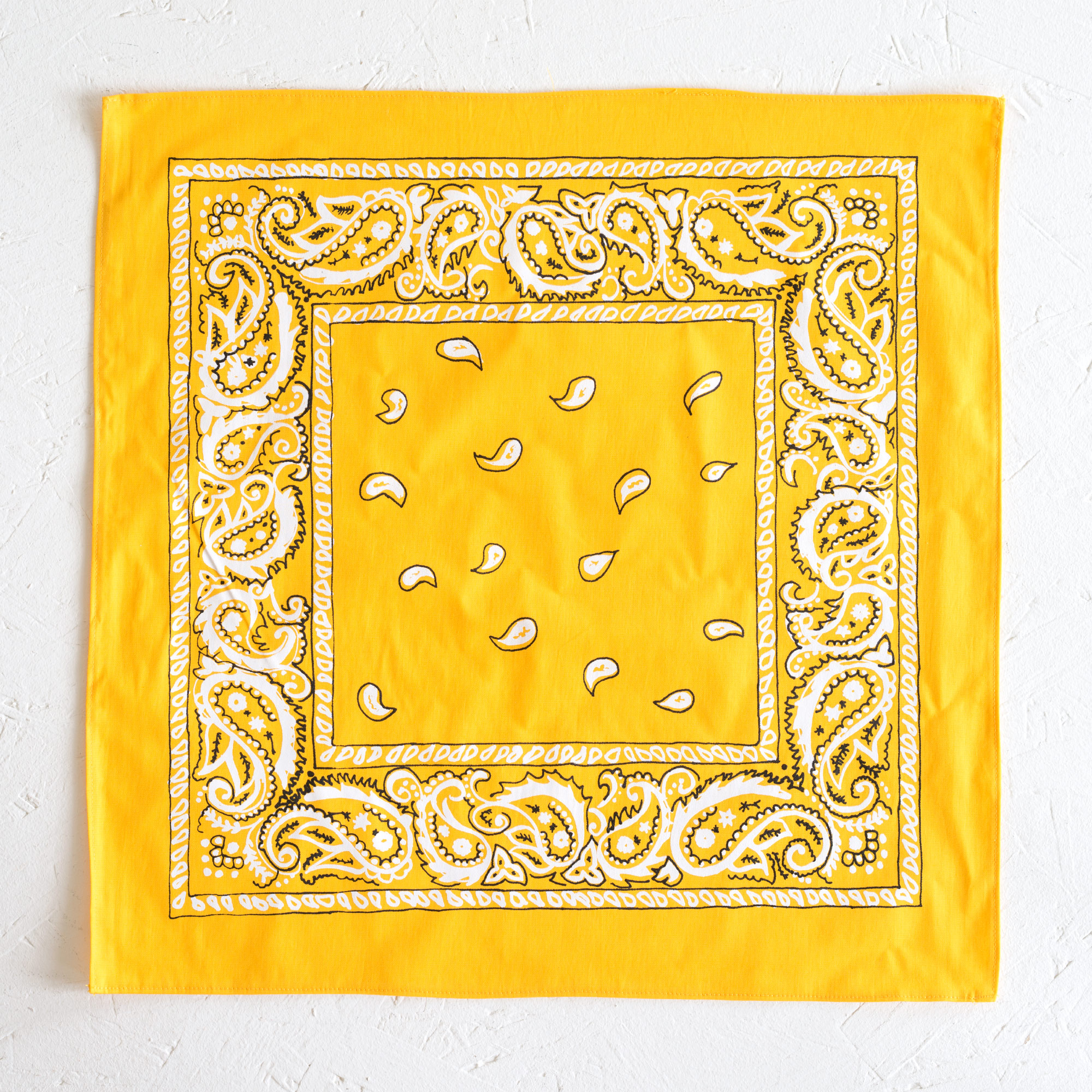 Nancy Davidson, *Hanky Code* (Yellow), 2016, Two color silkscreen on hand cut & sewn cotton, 17 x 17 inches (43.18 x 43.18 cm)