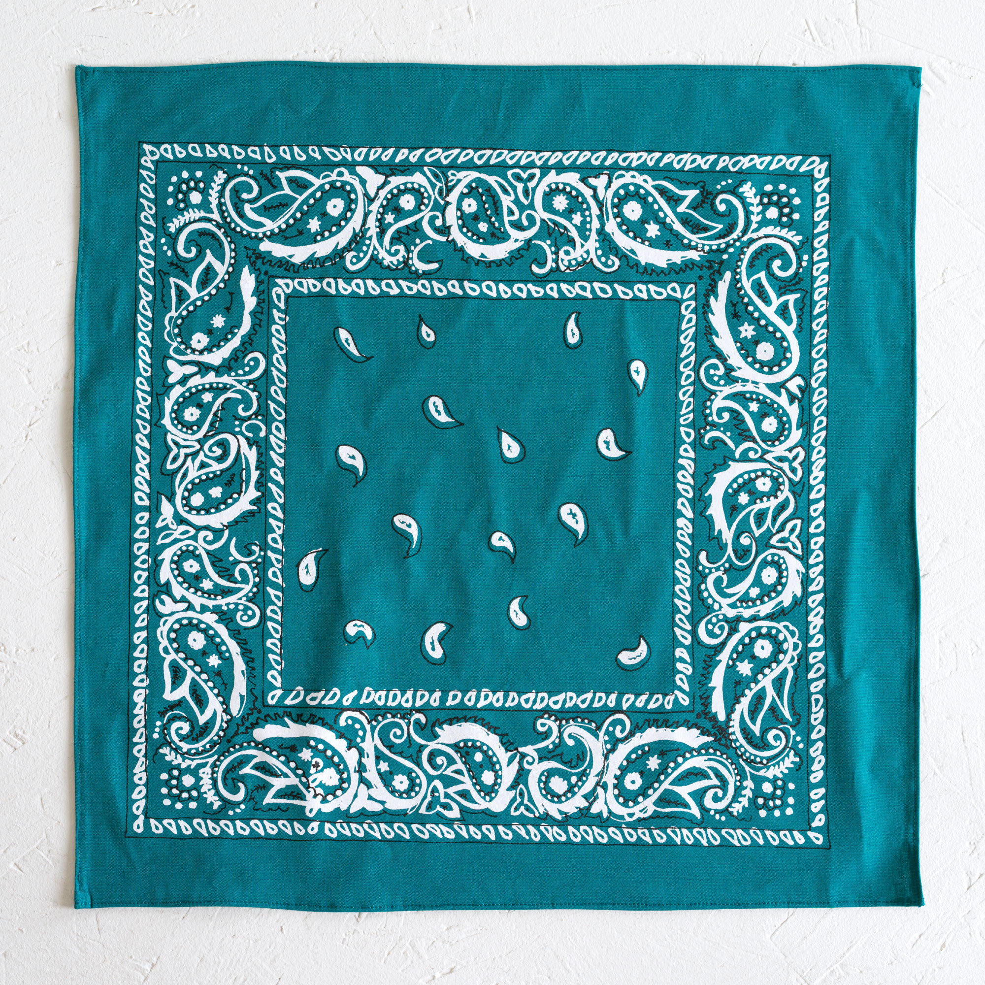 Nancy Davidson, *Hanky Code* (Teal), 2016, Two color silkscreen on hand cut & sewn cotton, 17 x 17 inches (43.18 x 43.18 cm)